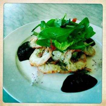 Sauteed Tigers Prawns with Balsamic Sauce and Potato Salad