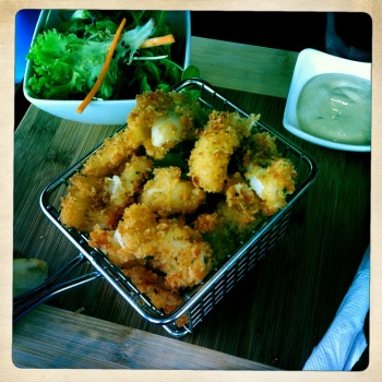Lemon and Parmesan Herb Crumbed Calamari - Tender and tasty with good old fashioned homemade tartare and fresh lemon wedges (AU$9.50)