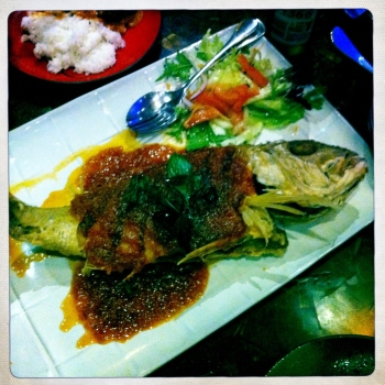 Thai Crispy Whole Fish served with three flavoured sauce - hot, sweet and sour