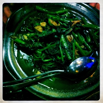 Kang Kong Greens - Water spinach stir-fried with yellow soya beans, garlic and chilli