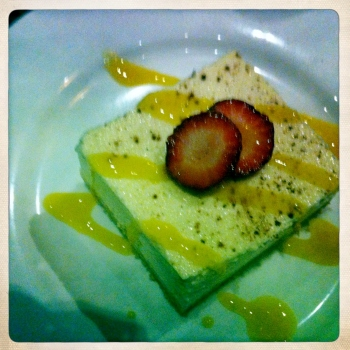 Thai Basil Cheesecake with Kaffir Lime Leaves and Strawberries