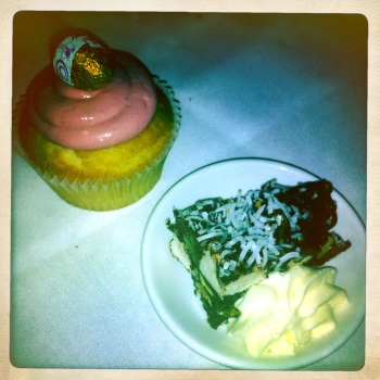 Cupcake with 'Yogurt' Icing and Rocky Road