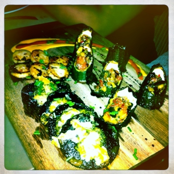 Tasting Platter with Chargrilled Scallops, Bacon Stuffed Zucchini and Mushrooms with Thyme and Parmesan