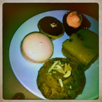 Strawberry Macaroon, Chocolate Tart, Chocolate Cupcake, Lemon Slice and there's that yummy Pecan and Maple Cookie!