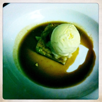 Roast Pineapple, Bread and Butter Pudding with White Chocolate and Macadamia Brittle Ice Cream for AU$16