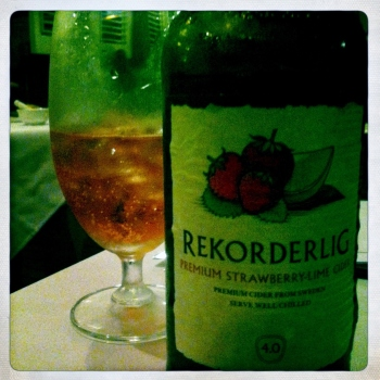 Rekorderlig Strawberry and Lime Cider YUM!!!  $AU16