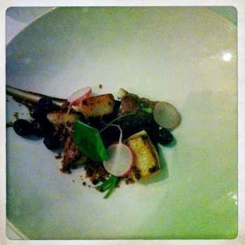 Malt Roasted Scallops with Veal Sweetbreads, Gingerbread, Pickled Raisins and Warmed Radishes