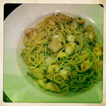 "Spaghetti Alla Pescatora - ""Fisherman Style"" with Prawns, Fish, Garlic and Chilli lightly panfried in Olive Oil for AU$19.50"