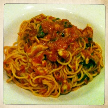 Spaghetti Alla Puttanesca with Capers, Anchovies and Tomatoes for AU$22