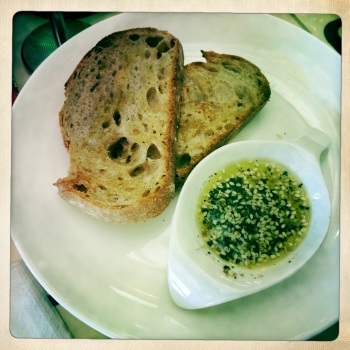 Wood Fired Sour Dough with Wattle Seed Dukkah and EVOO (AU$5)