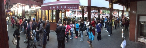 The line-up for takeaway at the Nanxiang Steamed Bun Restaurant