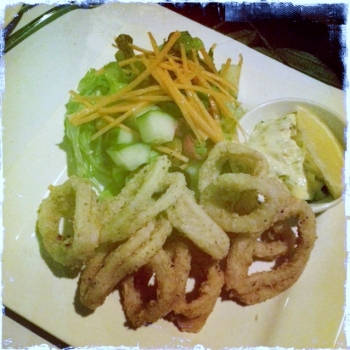 Salt and Pepper Squid lightly fried with our Chef's special Garlic Mayo and Mixed Greens (AU$16.50)