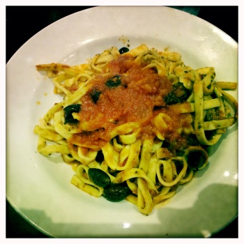 Fettuccine Puttanesca with a tasty Mediterranean sauce of garlic, basil, capers, olives, anchovies, oregano, chilli and Napoli sauce for AU$13.40