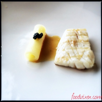 Barramundi and with a Potato Ribbon and Caviar