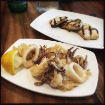 Calamari (front) Swordfish (back)