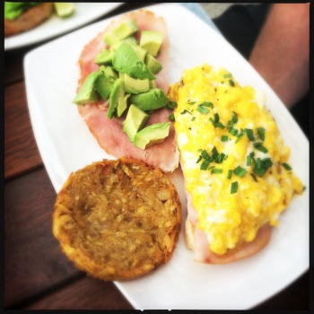 Broken eggs, wood-fired bread with local avocado (AU$12) plantain rosti and double smoked ham (both $3 extra)