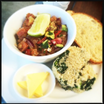 Local Salmon Poke with Wood-fired Ciabatta for AU$9 (Kale and Quinoa side salad extra $3)
