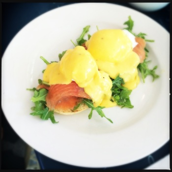 Benny Royale with Poached Eggs, Smoked Salmon, Muffin and Lime Hollandaise for $19