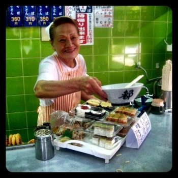 Who could resist steaming hot soba noodles served by this lovely lady?