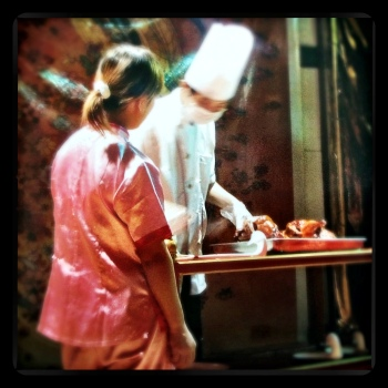 A Peking Duck Chef doing his thing in Beijing