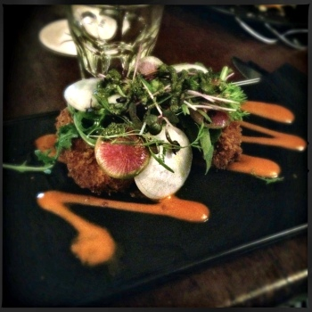 Entrée - Panko Crumbed Barramundi Croquettes, Smoked Capsicum Coulis, Basil Pesto, Watercress and Radish Salad