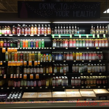 The wall of Kombucha at Whole Foods