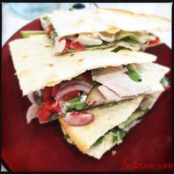Poached Chicken, Avocado, Red Onion, Tomato, Yogurt, Rocket and Pickled Cucumber - Quesadilla style