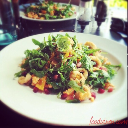 An previously posted pic of the Chilli Salt Squid Salad with Roast Pumpkin, Spiced Popcorn, Pomegranate and Rocket ($21)