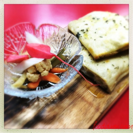 Garlic and Herb Focaccia with Garlic Oil, Herb Butter and Rosemary Salt ($4.50 2 pcs or $9 a tray)